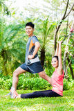Asian Chinese couple at fitness training Stock Photo