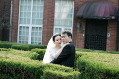 Asian Chinese couple in wedding dress stand in bushes Royalty Free Stock Images