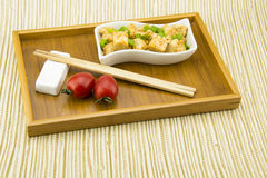 Asian Chinese delicious Home Dishes, fried tofu Royalty Free Stock Photo