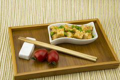 Asian Chinese delicious Home Dishes, fried tofu Stock Photo