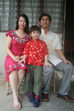 Asian chinese family. 's portrait in front of the house Stock Photography