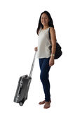 Asian Chinese female in corporate attire ready to travel Stock Images