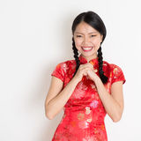 Asian chinese girl congratulating Stock Photos