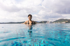Asian Chinese girl ejoying holiday at outdoor swimming pool Stock Photos
