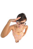 Asian chinese girl giving a salute Royalty Free Stock Photography