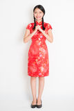 Asian chinese girl greeting Royalty Free Stock Photography