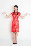Asian chinese girl open palms Royalty Free Stock Photo