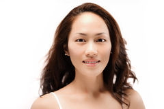 Asian chinese girl posing without make up isolated Royalty Free Stock Image