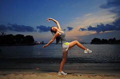 Asian Chinese Girl Practising Ballet during sunset Royalty Free Stock Photography