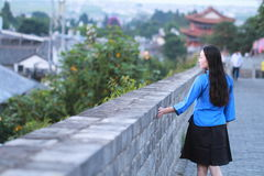 Asian Chinese girls wear student clothes in Republic of China in an ancient town. Asian Chinese girls wear student clothes in Republic of China, in an ancient royalty free stock photography