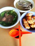Asian Chinese herbal pork soup. A photograph showing the popular Asia Chinese style herbs and pork ribs bones soup and pig kidneys soup, eaten as breakfast or stock images