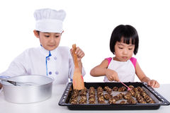 Asian Chinese Kid Baking Cookies Stock Photos