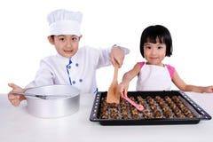 Asian Chinese Kid Baking Cookies Royalty Free Stock Image