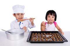 Asian Chinese Kid Baking Cookies Royalty Free Stock Photo