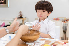 Asian Chinese little boy prepare for baking cookies Stock Photos