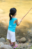 Asian Chinese little girl angling with fishing rod. At the river shore Stock Photography