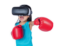 Asian Chinese little girl experiencing virtual reality with boxi Royalty Free Stock Photo