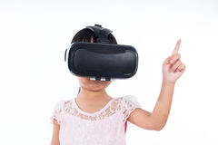 Asian Chinese little girl experiencing virtual reality Royalty Free Stock Photo