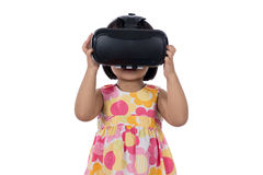 Asian Chinese little girl experiencing virtual reality Royalty Free Stock Image