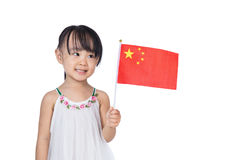 Asian chinese little girl holding Chinese Flag Stock Images