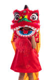 Asian Chinese little girl with Lion Dance costume. Celebrating Chinese New Year in isolated white background Stock Images