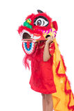 Asian Chinese little girl with Lion Dance costume Royalty Free Stock Images