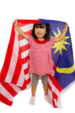 Asian Chinese Little girl with Malaysia Flag Royalty Free Stock Images