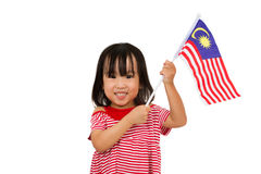 Asian Chinese Little girl with Malaysia Flag Stock Images