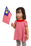 Asian Chinese Little girl with Malaysia Flag Royalty Free Stock Image