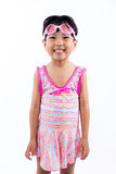 Asian Chinese little girl portrait wearing goggles and swimsuit Stock Images