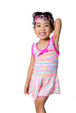 Asian Chinese little girl portrait wearing goggles and swimsuit Royalty Free Stock Photo