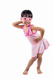 Asian Chinese little girl portrait wearing goggles and swimsuit Royalty Free Stock Photos