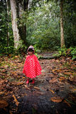 Asian Chinese little girl wearing raincoat in the forest Stock Photo
