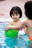 Asian Chinese Little Girls Playing in the Swimming Pool Stock Photography