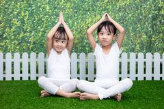 Asian Chinese little girls practicing yoga pose on a mat. Outdoor stock photo