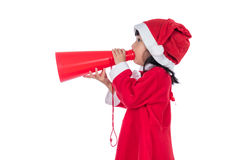Asian Chinese little santa girl holding loudspeaker shouting Royalty Free Stock Images