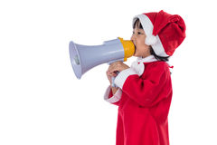 Asian Chinese little santa girl holding loudspeaker shouting Stock Photos