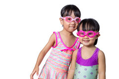 Asian Chinese little Sister portrait wearing goggles and swimsui Royalty Free Stock Photo