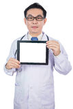 Asian Chinese male doctor holding a tablet. In isolated White Background Stock Photo