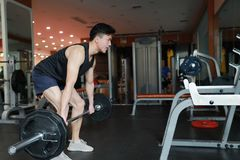 Asian chinese man in gym lifting weights Stock Images