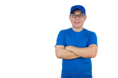 Asian Chinese man wearing blue shirt with crossed arm Stock Photography