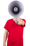 Asian Chinese man wearing red shirt holding loudspeaker Royalty Free Stock Photo