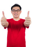 Asian Chinese man wearing red shirt showing thumbs up Royalty Free Stock Photos