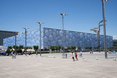 Asian Chinese, modern architecture, the National Swimming Center, the water cube Stock Photos
