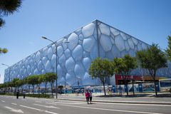 Asian Chinese, modern architecture, the National Swimming Center, the water cube Stock Photo