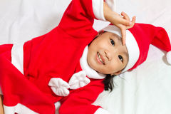 Asian Chinese Santa Girl Royalty Free Stock Photo