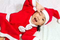 Asian Chinese Santa Girl Stock Photos