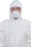 Asian Chinese scientist in protective wear with glasses and resp Stock Photo