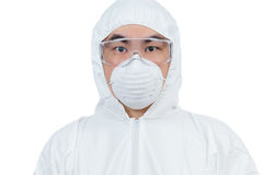 Asian Chinese scientist in protective wear with glasses and resp Royalty Free Stock Image