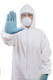Asian Chinese scientist in protective wear showing stop gesture Stock Image